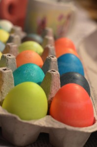 Coloring Easter eggs is always fun in our home. Nothing too elegant, just basic colors with natural dyes. No PAAS in our home!